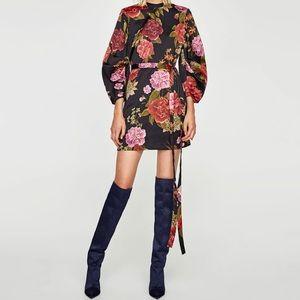 Zara Printed Mini Dress with Full Sleeves